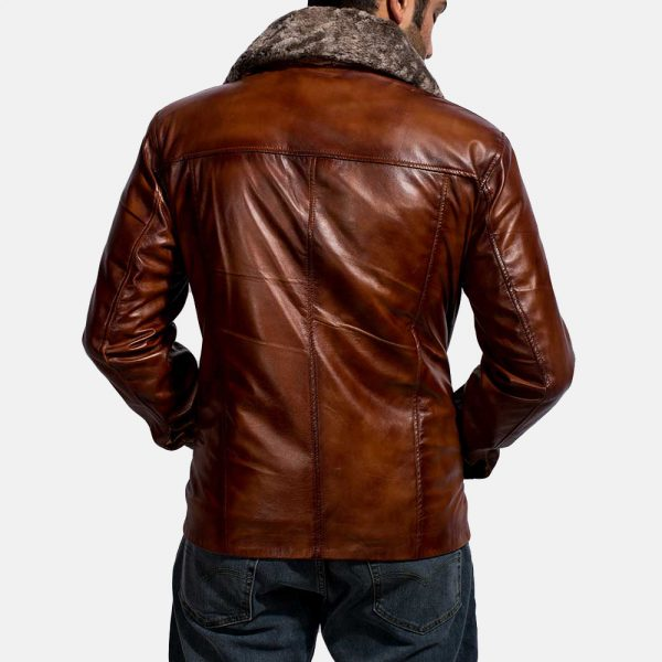 Latest Evan Hart Fur Brown Leather Jacket for Men