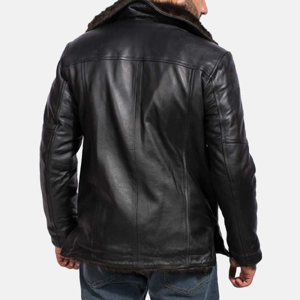 latest Furcliff Black Leather Coat for Men