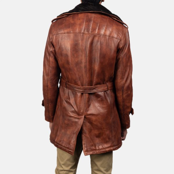 latest Hunter Distressed Brown Fur Leather Coat for Men