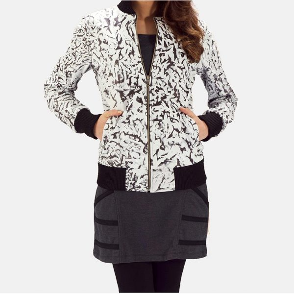 latest White Leather Bomber Jacket for Women