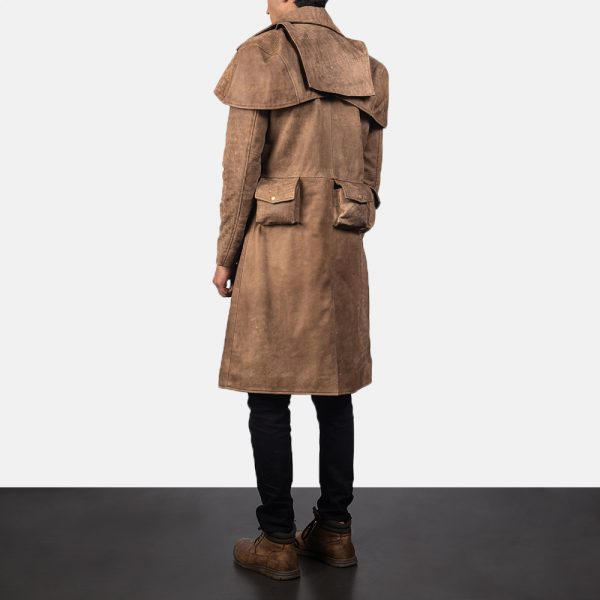 new Army Brown Leather Duster for Men