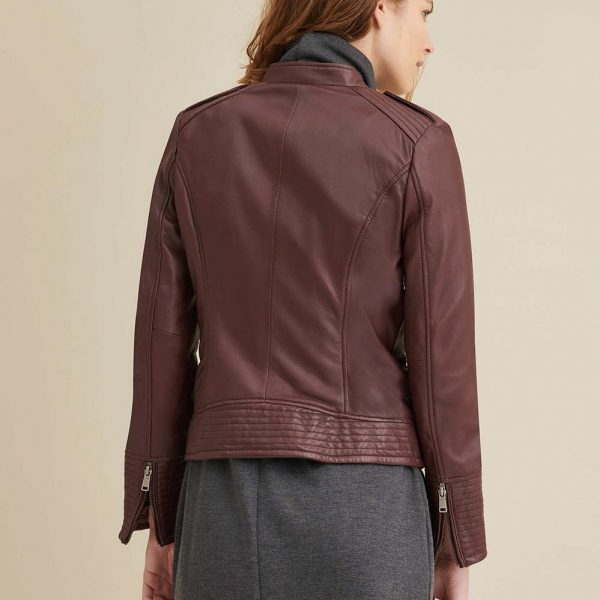 new Asymmetrical Maroon Leather Jacket for Women