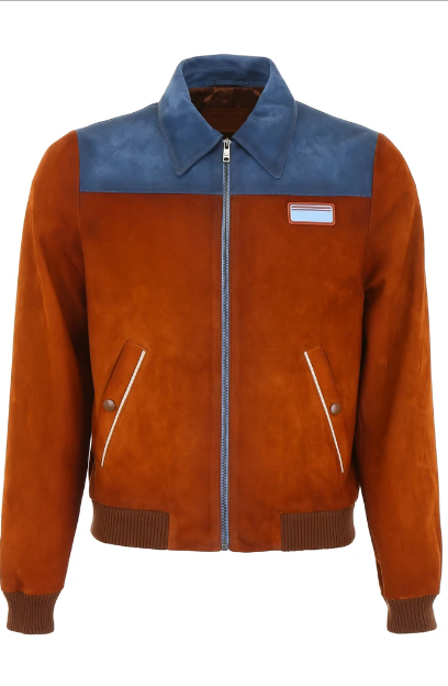 new Bicolor Suede Bomber Jacket For Men