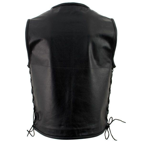 new Black Advanced Collarless Leather Motorcycle Vest for Men