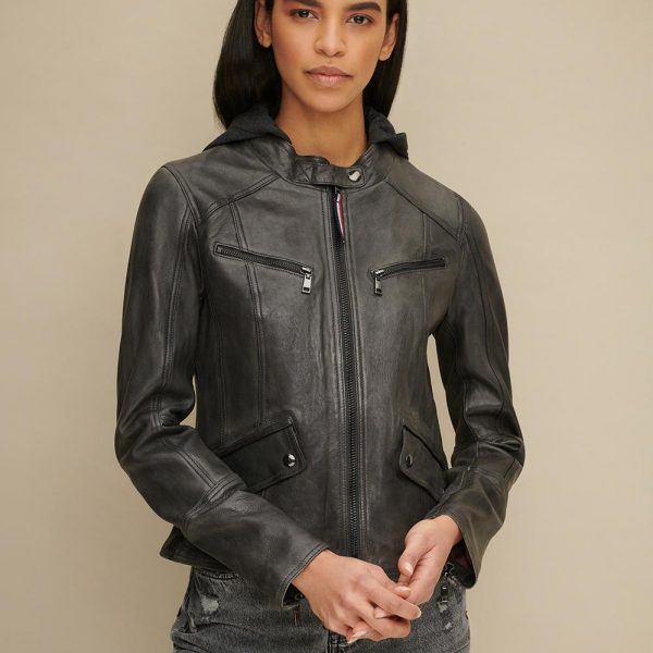 new Black Hooded Leather Jacket for Women