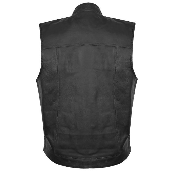 new Black Leather Gun Pocket Vest for Men