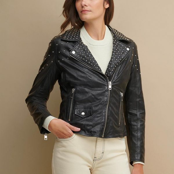 new Black Leather Jacket With Metal Studs for Women