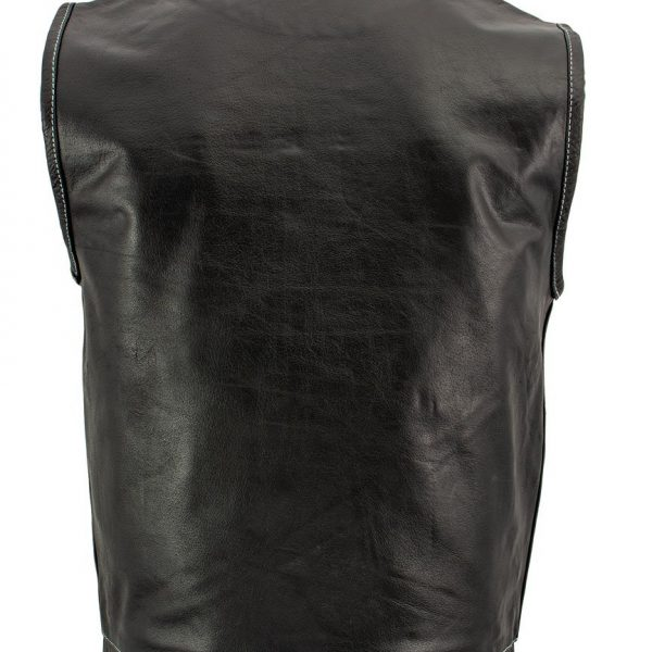 new Black Leather Motorcycle Vest with White Stitching for Men