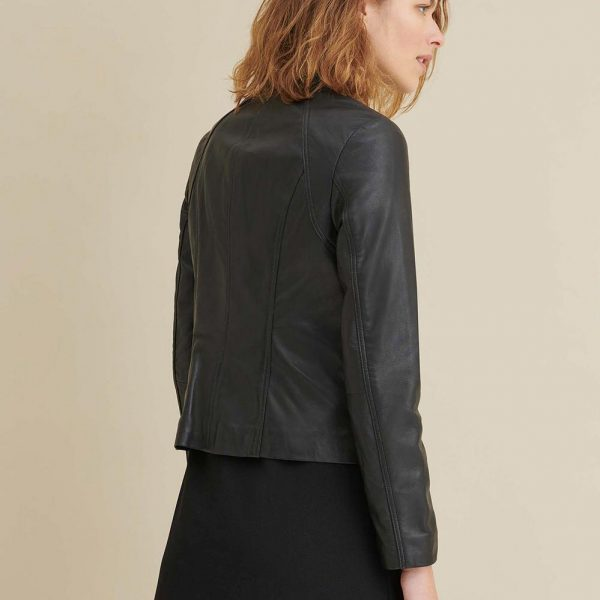 new Black Leather Scuba Jacket for Womens