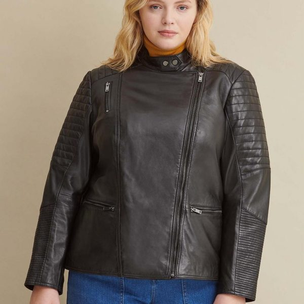 new Black Quilted Leather Jacket for Women