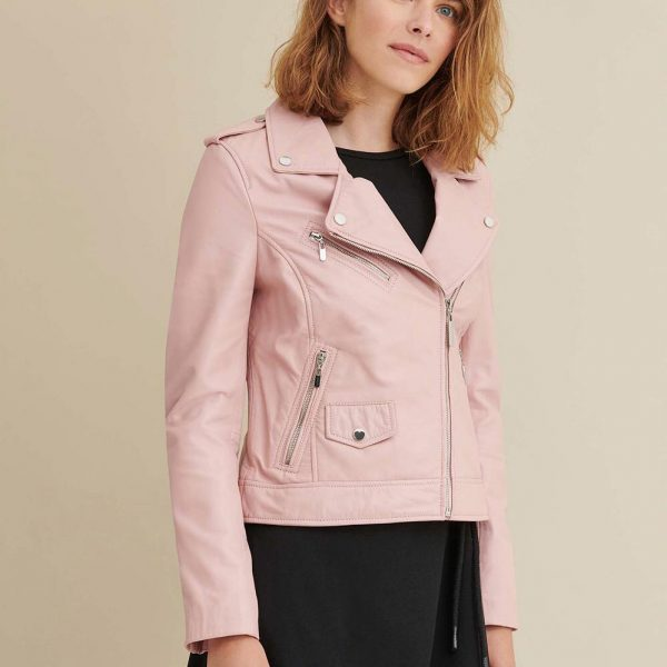 new Blush Asymmetrical Leather Jacket for Women