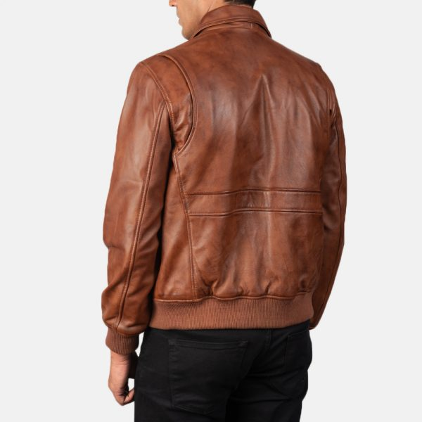 new Brown Leather Bomber Jacket for Men