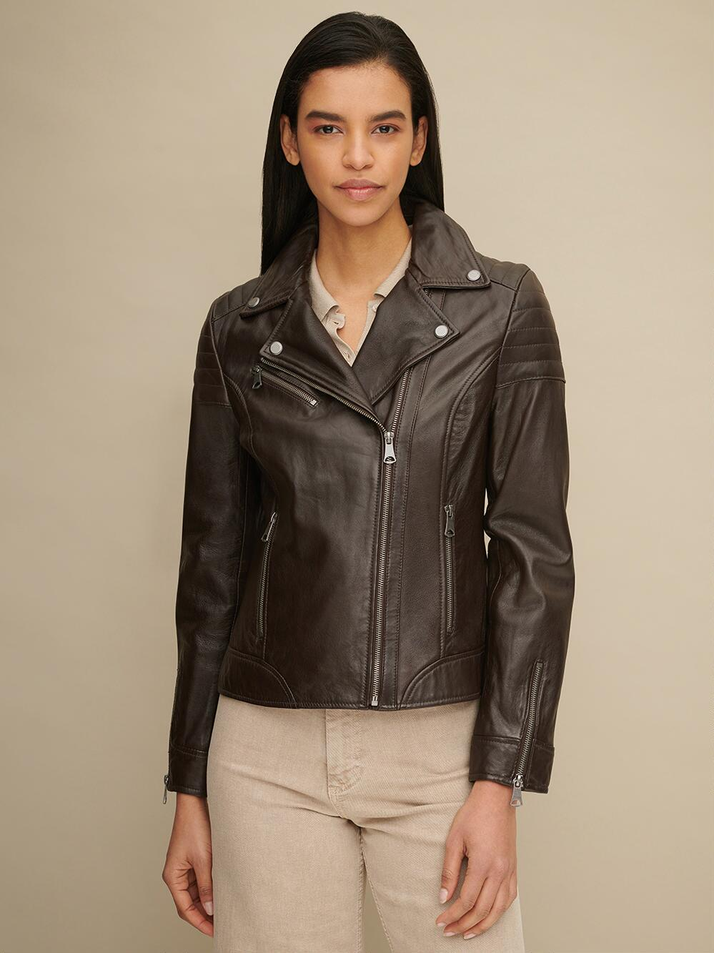 new Brown Leather Moto Jacket for Women