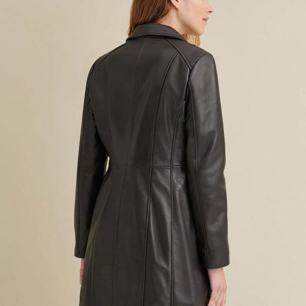 new Button Down Lamb Leather Trench for Women