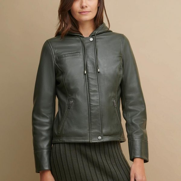 new Classic Green Hooded Leather Jacket for Women