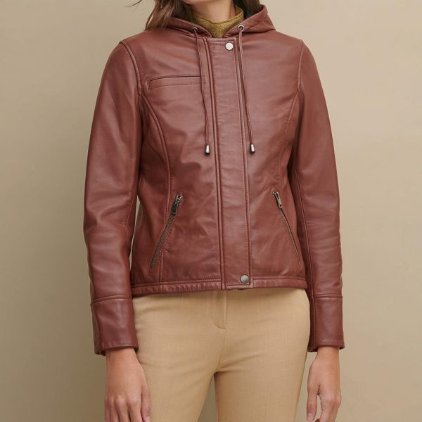 new Classic Hooded Leather Jacket for Women