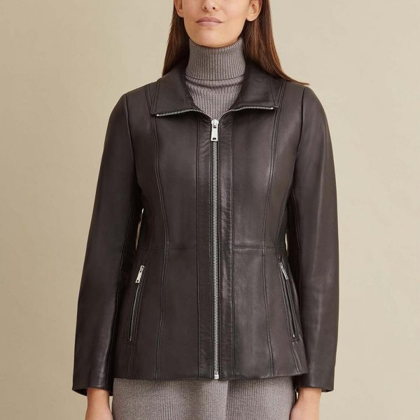 new Convertible Collar Leather Jacket for Women