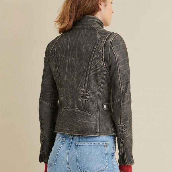 new Distressed Leather Jacket for Women