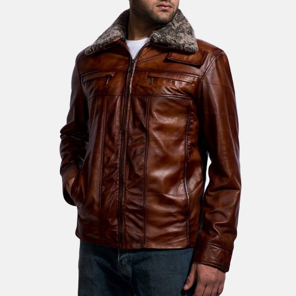 new Evan Hart Fur Brown Leather Jacket for Men