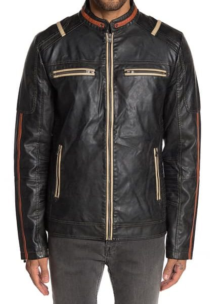 new Faux Leather Moto Jacket for Men
