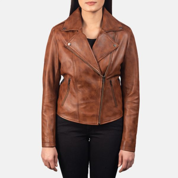 new Flashback Brown Leather Biker Jacket for Women
