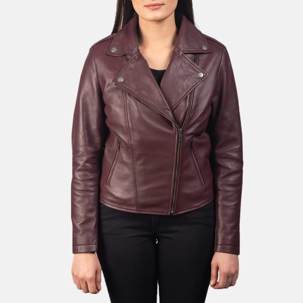 new Flashback Maroon Leather Biker Jacket for Women