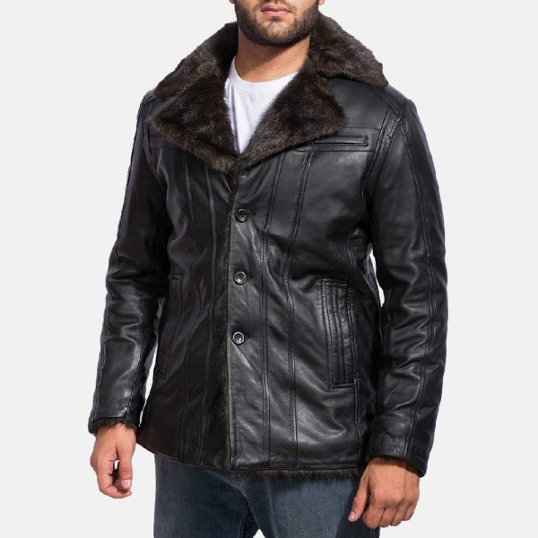 new Furcliff Black Leather Coat for Men