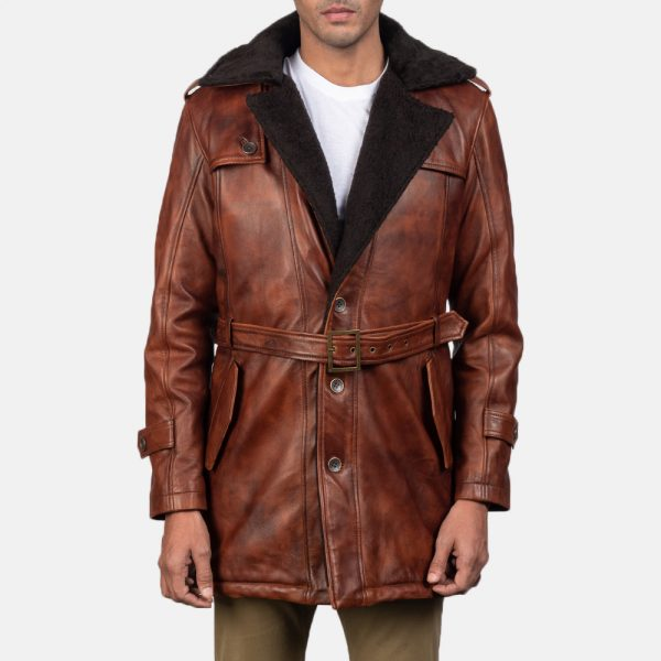new Hunter Distressed Brown Fur Leather Coat for Men