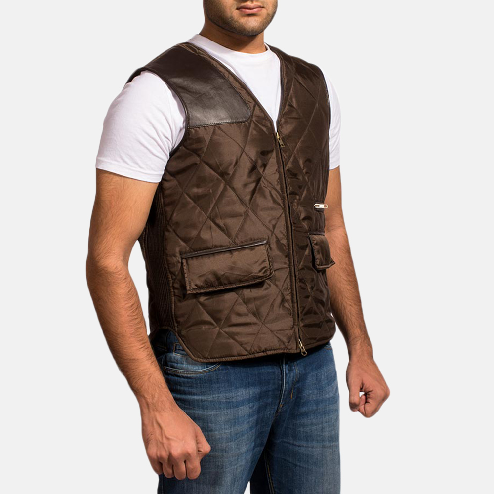 New Hybridge Quilted Brown Vest for Men