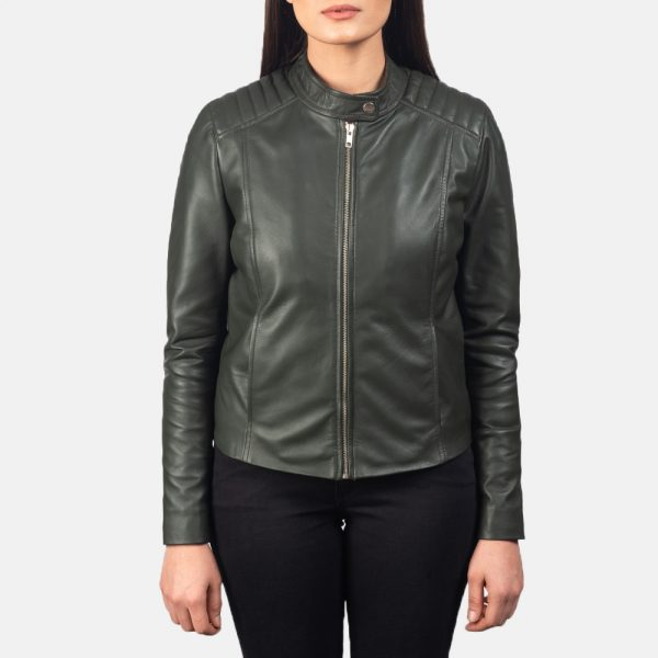 new Kelsee Green Leather Biker Jacket for Women