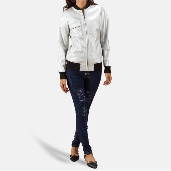 new Lana Silver Leather Bomber Jacket for Women