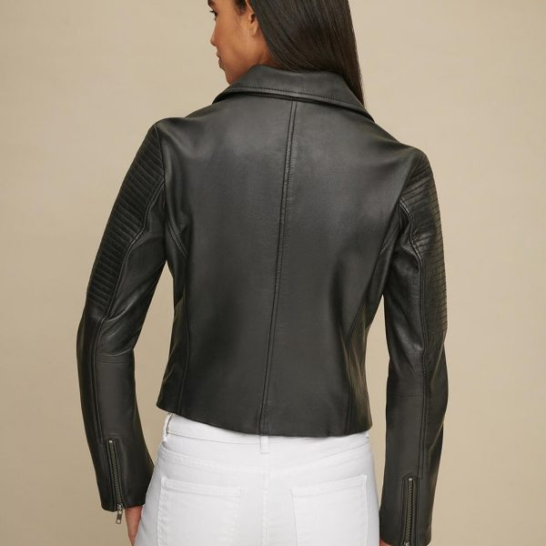 new Leather Jacket with Shoulder Quilt Detail for Women
