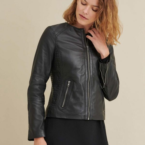 new Leather Jacket with Side Stitching for Womens