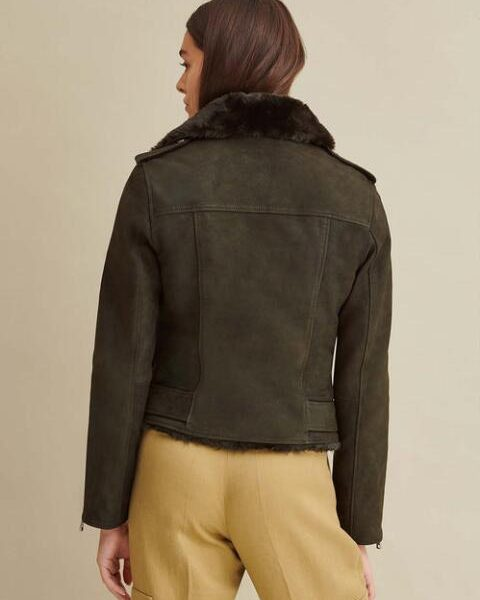 new Moto Leather Jacket with Faux Fur for Women
