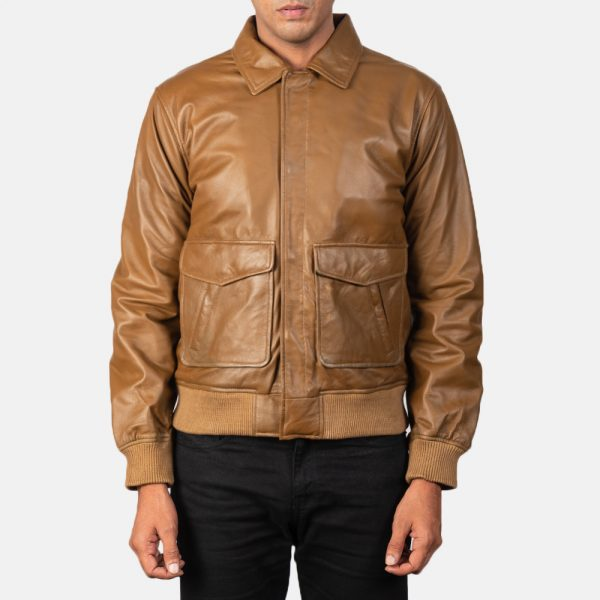 new Olive Brown Leather Bomber Jacket