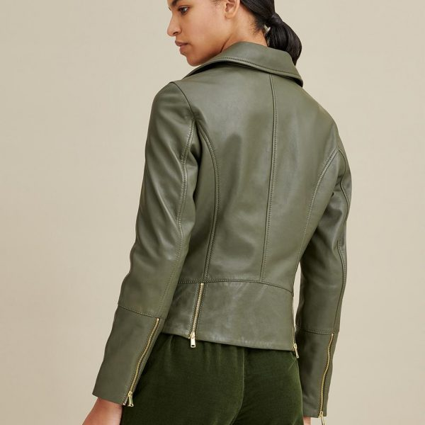 new Olive Moto Leather Jacket for Women