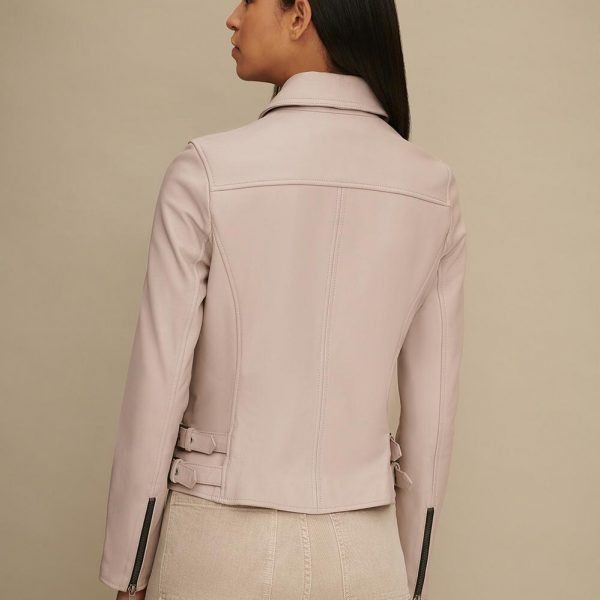 new Pink Asymmetrical Leather Moto for Women