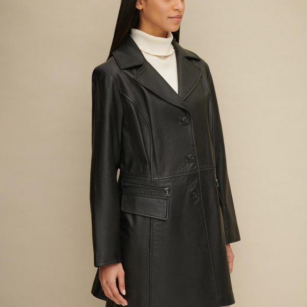 new Plus Size Button Front Leather Trench for Women