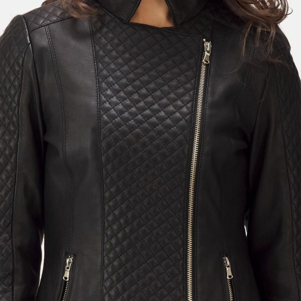 new Quilted Black Leather Biker Jacket for Women