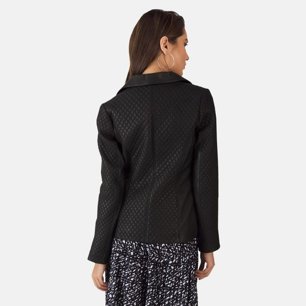 new Quilted Black Leather Blazer for Women