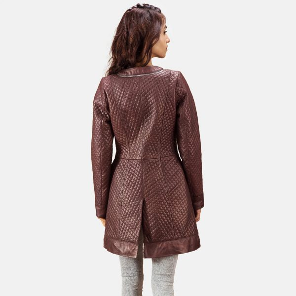 new Quilted Maroon Leather Coat for Women
