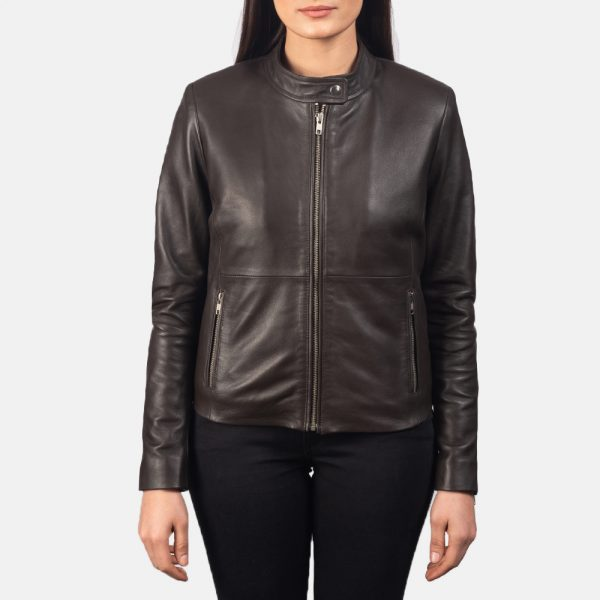 new Rave Brown Leather Biker Jacket for Women