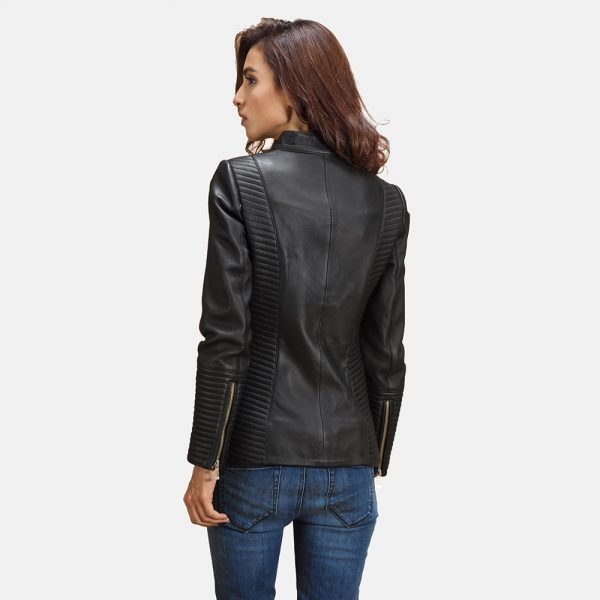 new Ray Black Leather Biker Jacket for Women