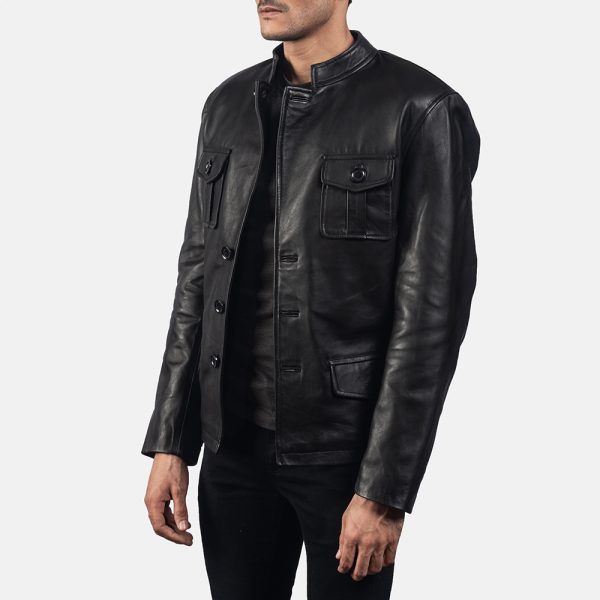 new Ray Cutler Black Leather Blazer for Men