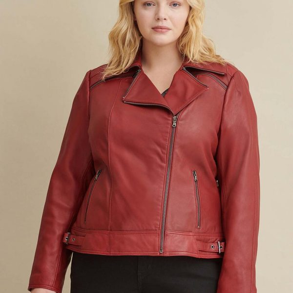 new Red Leather Jacket with Zipper For Women