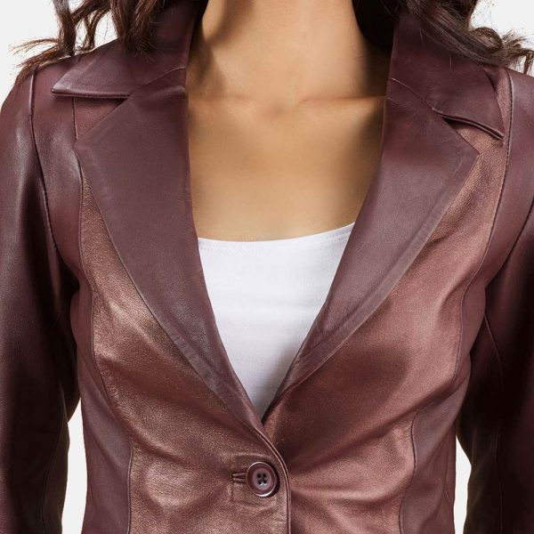 new Ruby Metallic Maroon Leather Blazer for Women