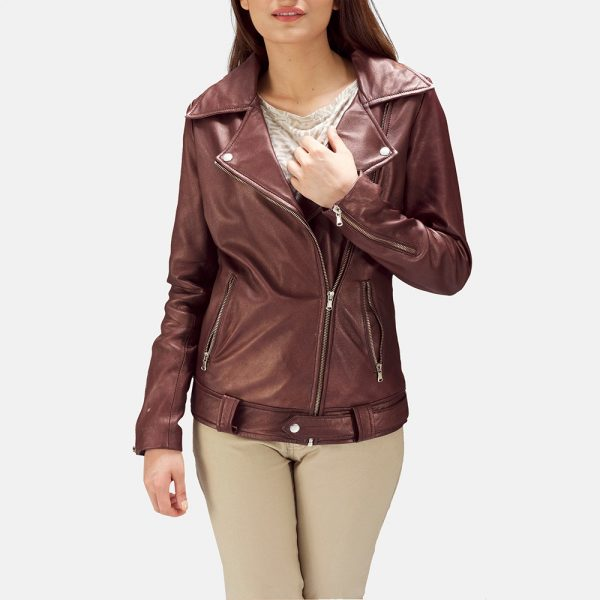 new Rumy Maroon Leather Biker Jacket for Women