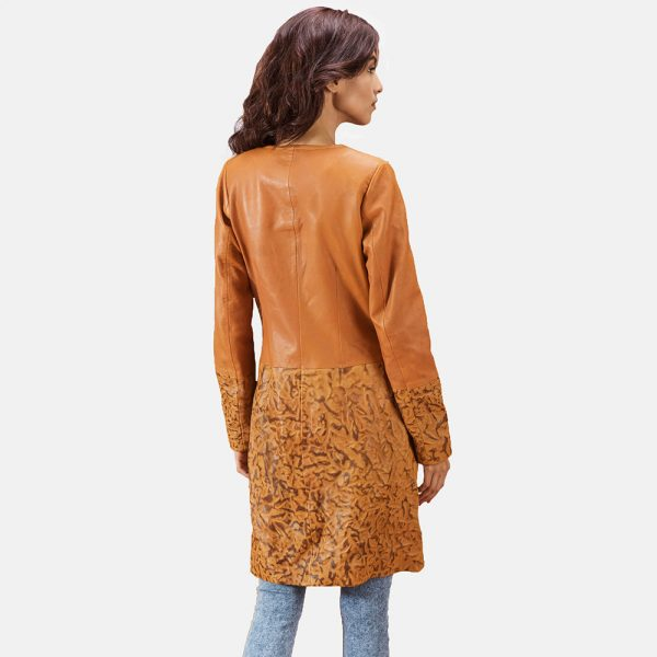 new Sandy Tan Dye Leather Coat for Women