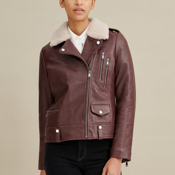 new Shearling Collar Leather Jacket for Women