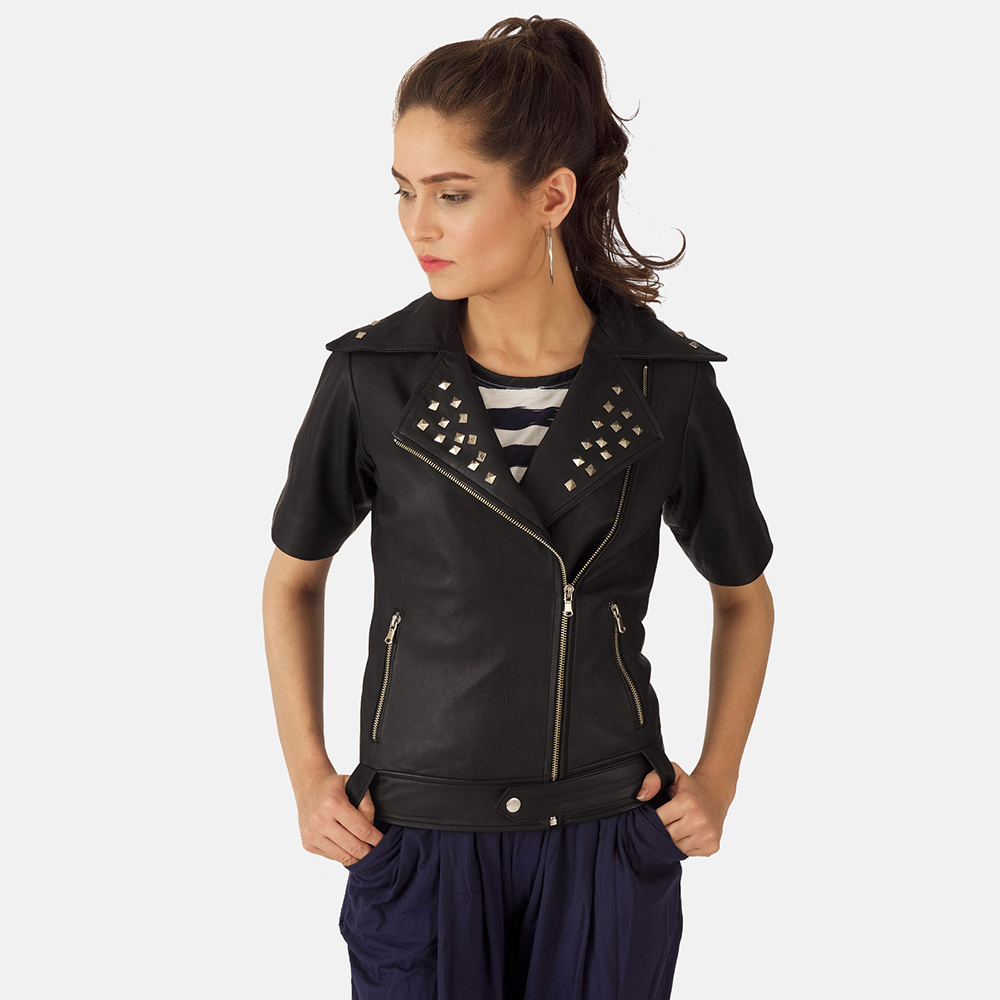 Starlet Black Leather Biker Jacket for Women